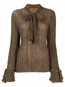 Missoni bow-detail ribbed knit jumper - GOLD