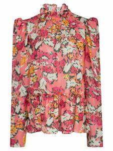Saloni Mel floral silk blouse - PINK
