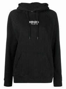 Kenzo logo print casual hoodie - Black