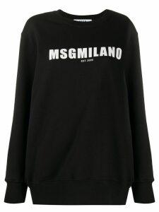 MSGM logo print crew neck sweatshirt - Black