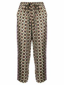 Pierre-Louis Mascia Adanastr geometric-print silk trousers - NEUTRALS