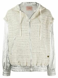 Twin-Set tweed panel bomber jacket - NEUTRALS