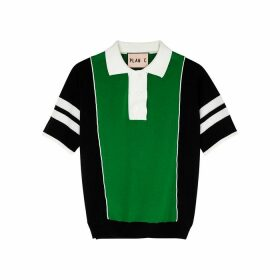 Plan C Block Panelled Fine-knit Cotton Polo Shirt