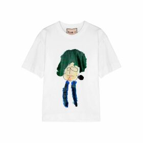 Plan C White Printed Cotton T-shirt