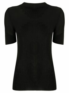Paco Rabanne ribbed short-sleeved top - Black