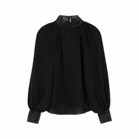 Veronica Beard Janvi Black Silk-chiffon Blouse