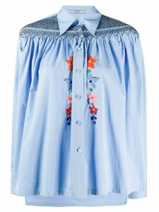 Prada embroidered poplin shirt - Blue