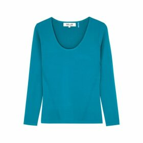 Diane Von Furstenberg Akira Blue Stretch-knit Top