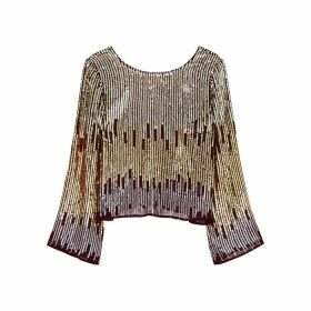 RIXO Bettina Degradé Sequin Top