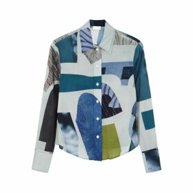 LOROD Blue Printed Cotton Shirt