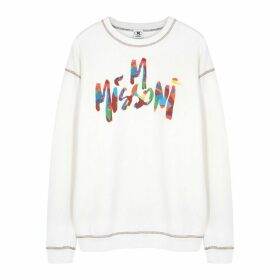 M Missoni White Logo-print Cotton Sweatshirt