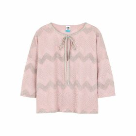 M Missoni Pink Zigzag Metallic-weave Top
