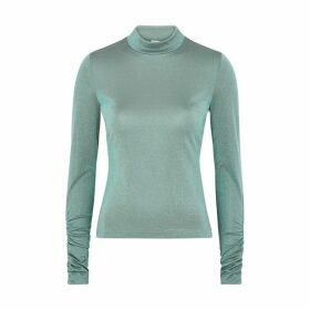 M Missoni Green Ribbed Metallic-weave Top
