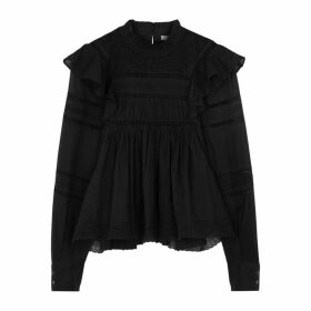 Isabel Marant Étoile Viviana Black Lace-trimmed Cotton Blouse