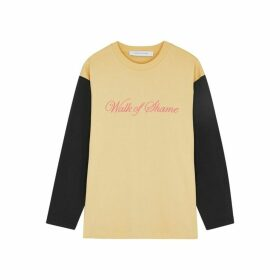 Walk Of Shame Two-tone Logo-embroidered Cotton Top