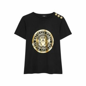 Balmain Black Logo Cotton T-shirt