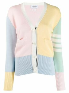 Thom Browne 4-bar milano stitch V-neck cardigan - PINK