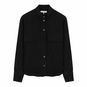 Frame Denim Clean Safari Black Silk Shirt