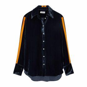 Serena Bute Slate Grey Stripe-trimmed Velvet Shirt