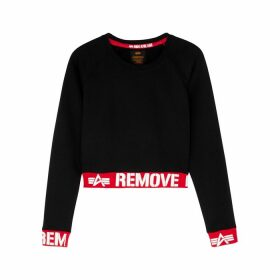 Alpha Industries Black Cropped Cotton-jersey Sweatshirt