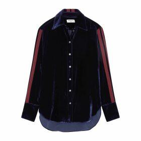 Serena Bute Navy Stripe-trimmed Velvet Shirt
