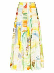 Rosie Assoulin Million Pleats watercolour-print maxi skirt - White