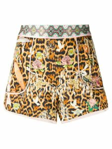 Camilla Fauna Electro-print silk shorts - Brown