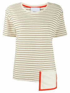 Erika Cavallini asymmetric striped T-shirt - NEUTRALS