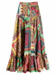 Etro patchwork midi skirt - PINK
