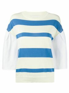 Erika Cavallini striped contrast-sleeve jumper - Blue