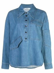 Tibi stone enzyme denim shirt - Blue