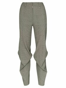 We11done High-waisted checked pintuck trousers - Grey