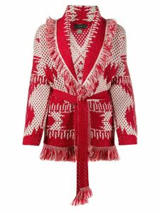 Alanui geometric-intarsia open-knit cardigan - Red