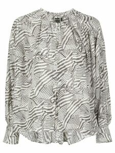 Isabel Marant abstract-print tie-neck blouse - White