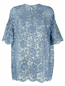 Valentino heavy lace half-sleeve blouse - Blue
