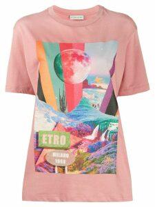 Etro mountain print T-shirt - PINK
