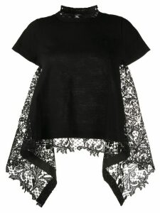 Sacai short sleeve lace insert top - Black
