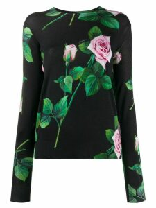 Dolce & Gabbana tropical rose print jumper - Black