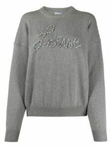 Loewe ribbon logo appliqué jumper - Grey