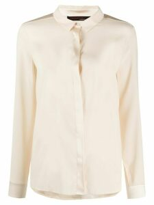 Incentive! Cashmere long sleeve button down silk blouse - NEUTRALS