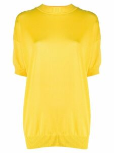 Plan C relaxed-fit short sleeve jumper - Yellow
