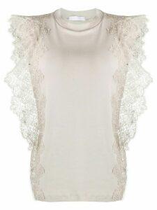 Fabiana Filippi lace detail cap sleeve T-shirt - NEUTRALS