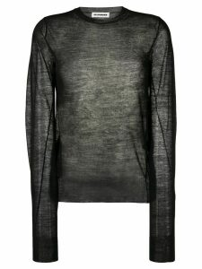 Jil Sander sheer knitted top - Black