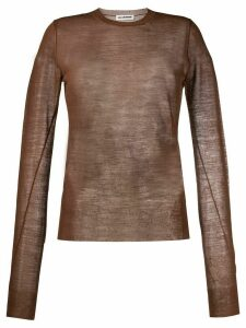 Jil Sander sheer knitted top - Brown