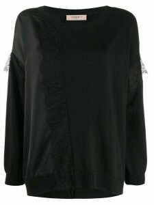Twin-Set lace-panels knit jumper - Black