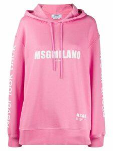 MSGM logo print drawstring hoodie - PINK