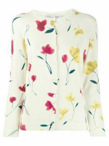 Oscar de la Renta floral print knitted cardigan - NEUTRALS