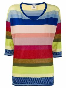 Semicouture striped V-neck jumper - PINK