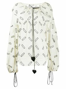 LANVIN geometric cut out blouse - White