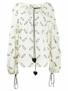 LANVIN geometric cut out blouse - White